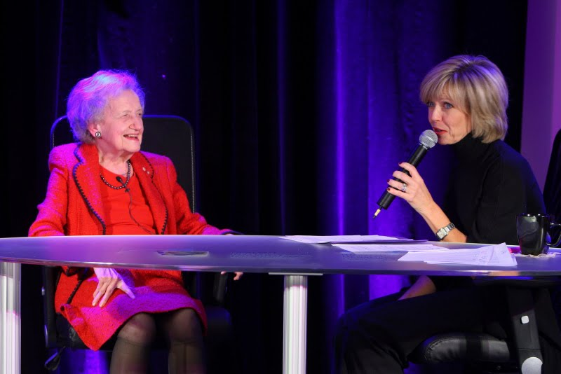 The Future of Scientific Discovery Panel Discussion, from left to right: Dr. Brenda Milner, cognitive neuroscientist, Montreal Neurological Institute and Hospital  Heather Hiscox, host of CBC News: Morning