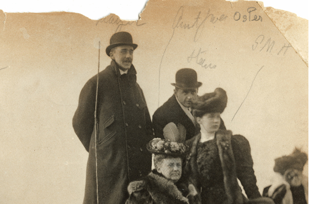 """<em><strong>Group watching the Oxford """"Grind"""", England 1907. Gwendolen Marjorie Howard stands on the right, next to a seated Grace Osler (Photo courtesy Osler Library)</em></strong>"""