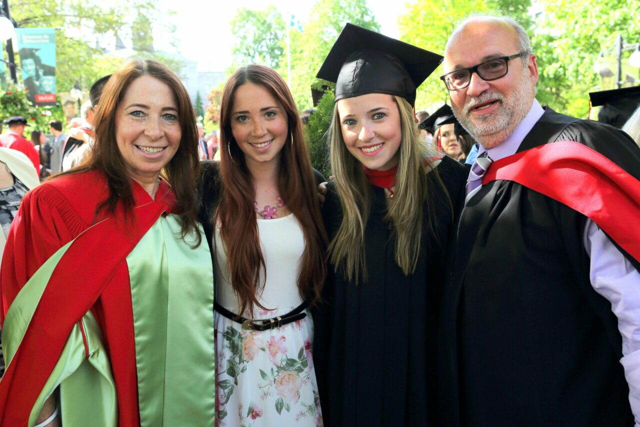 Dr. Annette Majnemer ( Director & Associate Dean / Physical and Occupational Therapy, School), Meaghan Shevell (2014 BA graduate with double major in Psychology and Anthropology), Dr. Allison Shevell (MDCM '14) and Dr. Michael Shevell (Chair, Department of Pediatrics at McGill and Pediatrician0in-Chief, Montreal Children's Hospital) (Photo: Owen Egan)