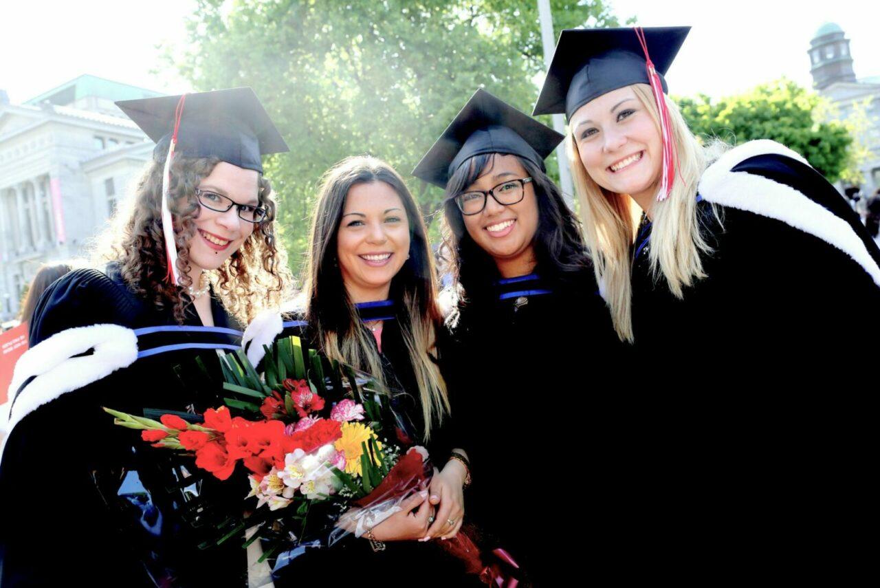 Nursing graduates Cassandra Di Tomasso, Vanessa Palma, Mariz-Christel Magalaman and Juliana Benc. (Photo: Owen Egan)