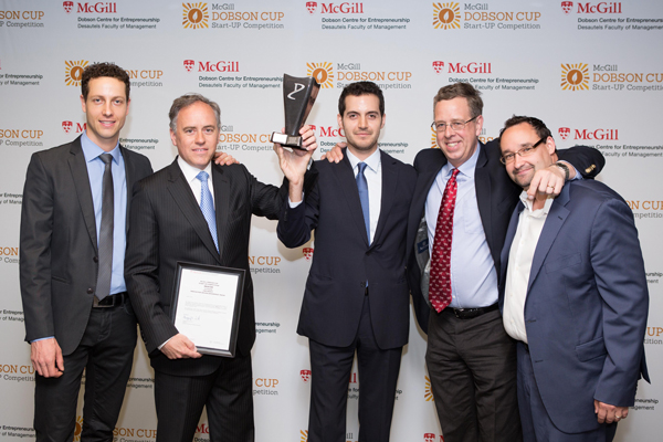 From left to right: Patrick Vespa (Manager, Strategy and Program Development, Dobson Centre for Entrepreneurship), Meacor co-founders and McGill Dobson Cup winners Dr. Renzo Cecere and Toufic Azar, Prof. Gregory Vit (Director of the Dobson Centre for Entrepreneurship), and McGill Dobson Cup judge Chris Thierry. / Photo: Edmond Chung
