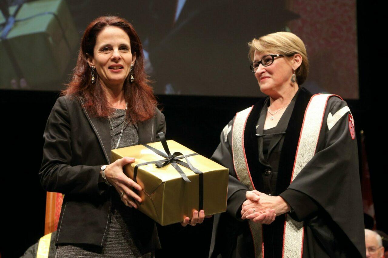 Pina Sorrini receiving her Principal's Award for Administrative and Support Staff. (Photo: Owen Egan)