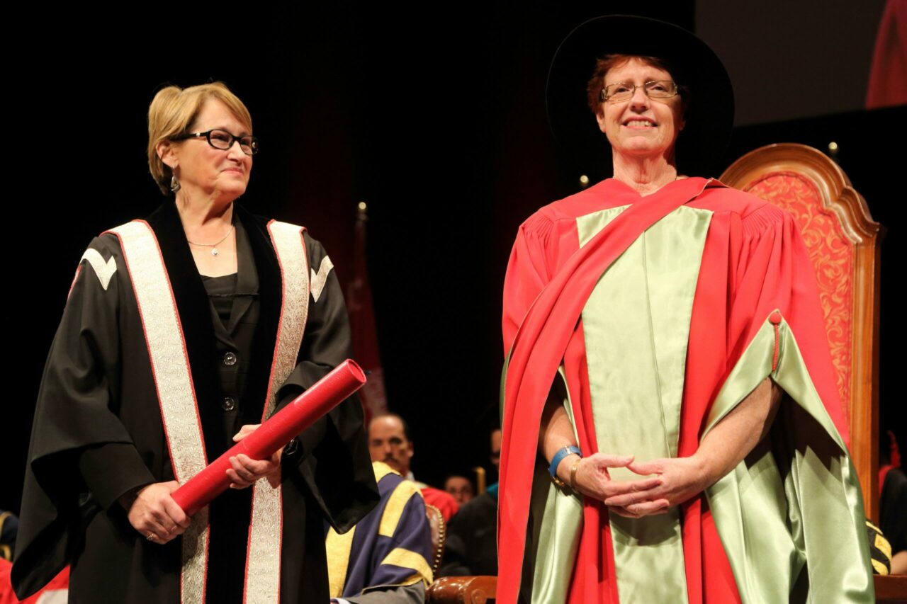 Professor Nancy Mayo receiving her Principal's Prize for Excellence in Teaching. Photo: Owen Egan