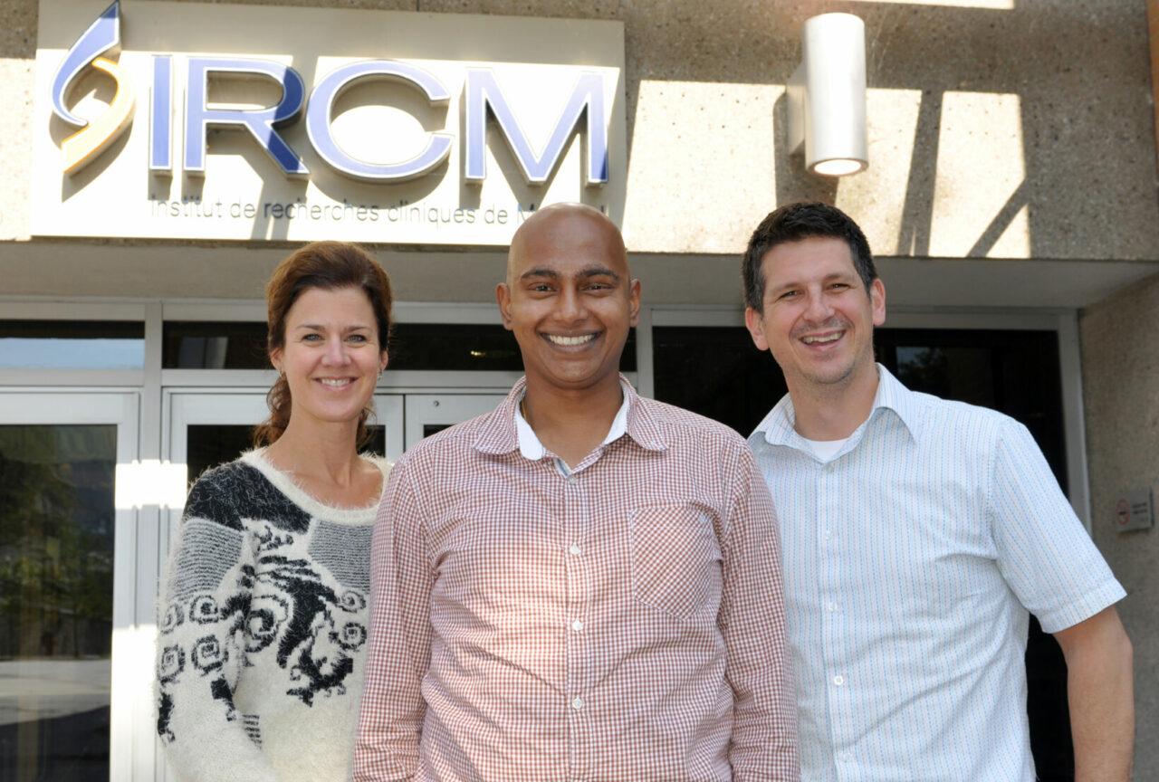 Left to right: Christine Jolicoeur, Vasanth Ramamurthy, Michel Cayouette (Photo courtesy of IRCM)