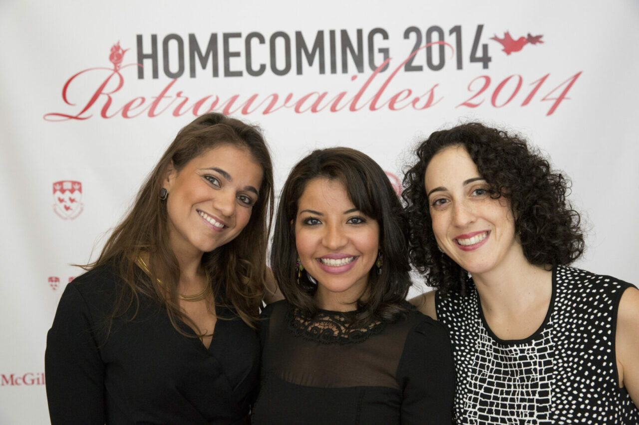 Representing the Class of 2009, three alumnae originally  from Haiti, Morocco and New York who have kept in close touch. (photo: Nicolas Morin)