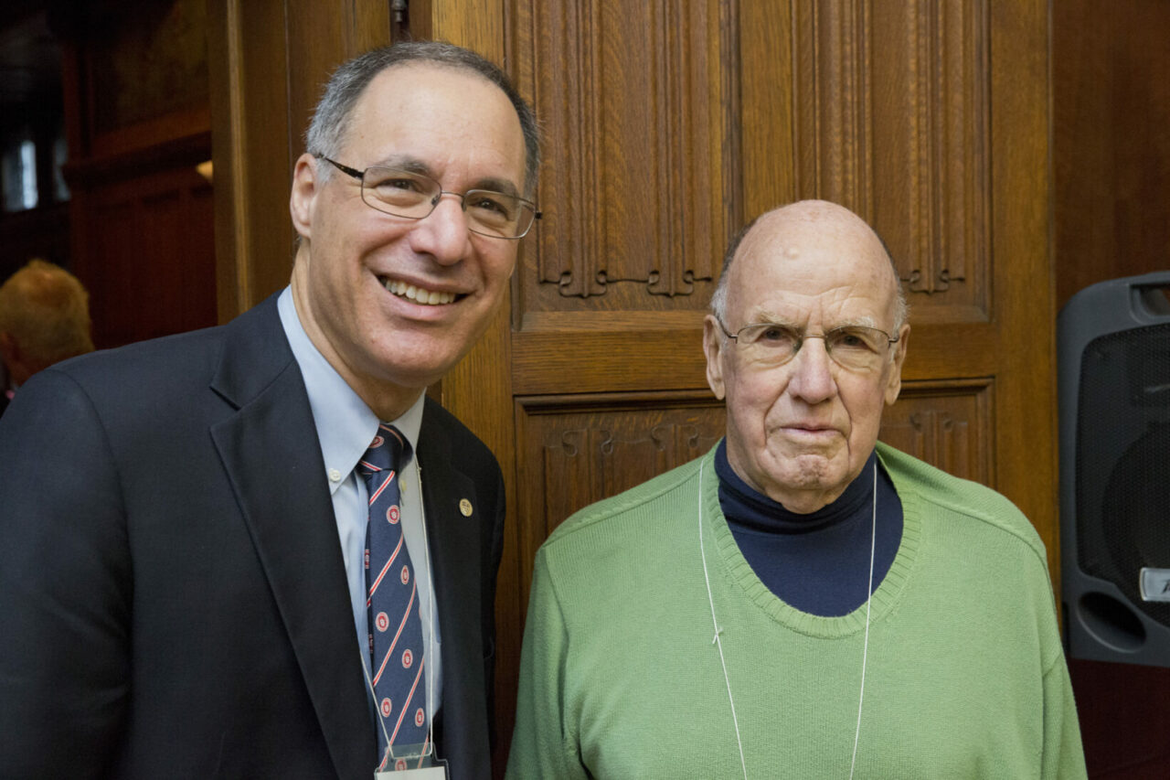 Dean Eidelman with J. Barry King, MDCM'54, who, with his identical brother John, was the first set of twins to attend McGill Medicine. (photo: Nicolas Morin)
