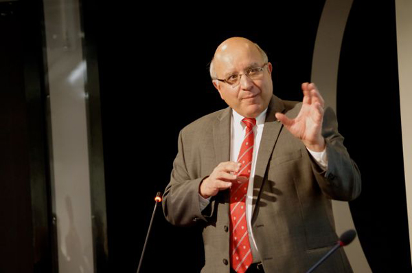 """""""I am optimistic,"""" Provost Anthony C. Masi told Open House forums on McGill's financial situation held Monday. """"But it is time to rethink how we do things, at every level."""" / Photo: Doug Sweet"""