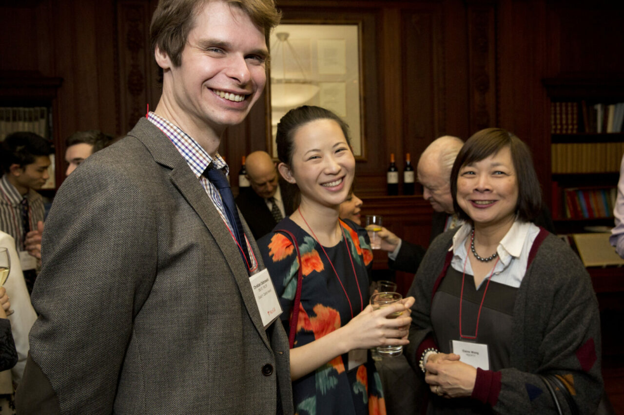On the same day as the Scholarship Reception, Elaine Wang, MDCM'77 made a generous donation in support of a Humanitarian Prize to be given at Convocation and a Travel Award in Global Health (Pictured, right, with Med-1 students Christian Dabrowski and Katrina Gong).  (Photo: Nicolas Morin)