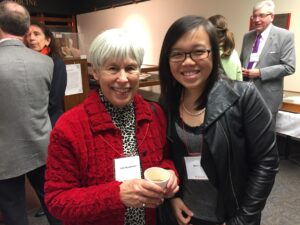 """""""They divided the class alphabetically for Anatomy. The ones who were in my husband's middle of the alphabet, I got to know. I was there for all the parties and the dances."""" – Ms. Judy Mendelsohn, BA'60, honorary member of the Medicine Class of 1961, with Manli Que, Development Officer, Faculty of Medicine."""
