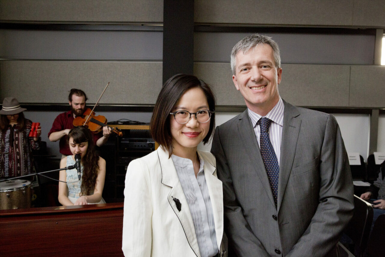 Profs. Nicole Li and Luc Mongeau lead a cross-disciplinary research team at McGill to develop novel technologies to restore injured voice. Background: McGill music band: SHYRE (Photo: Nicolas Morin)