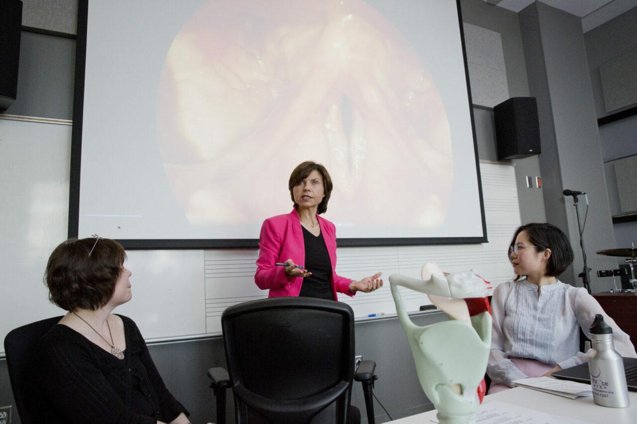 Speech pathologist, Glenna Waters; Laryngologist, Karen Kost; SCSD professor, Nicole Li talking about vocal fold pathology. Photo: Nicolas Morin