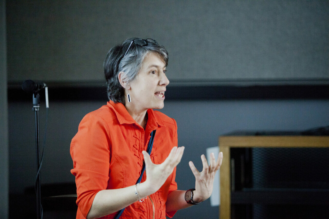 Music Professor, Isabelle Cossette, presenting her research on respiratory control and flute players. Photo: Nicolas Morin