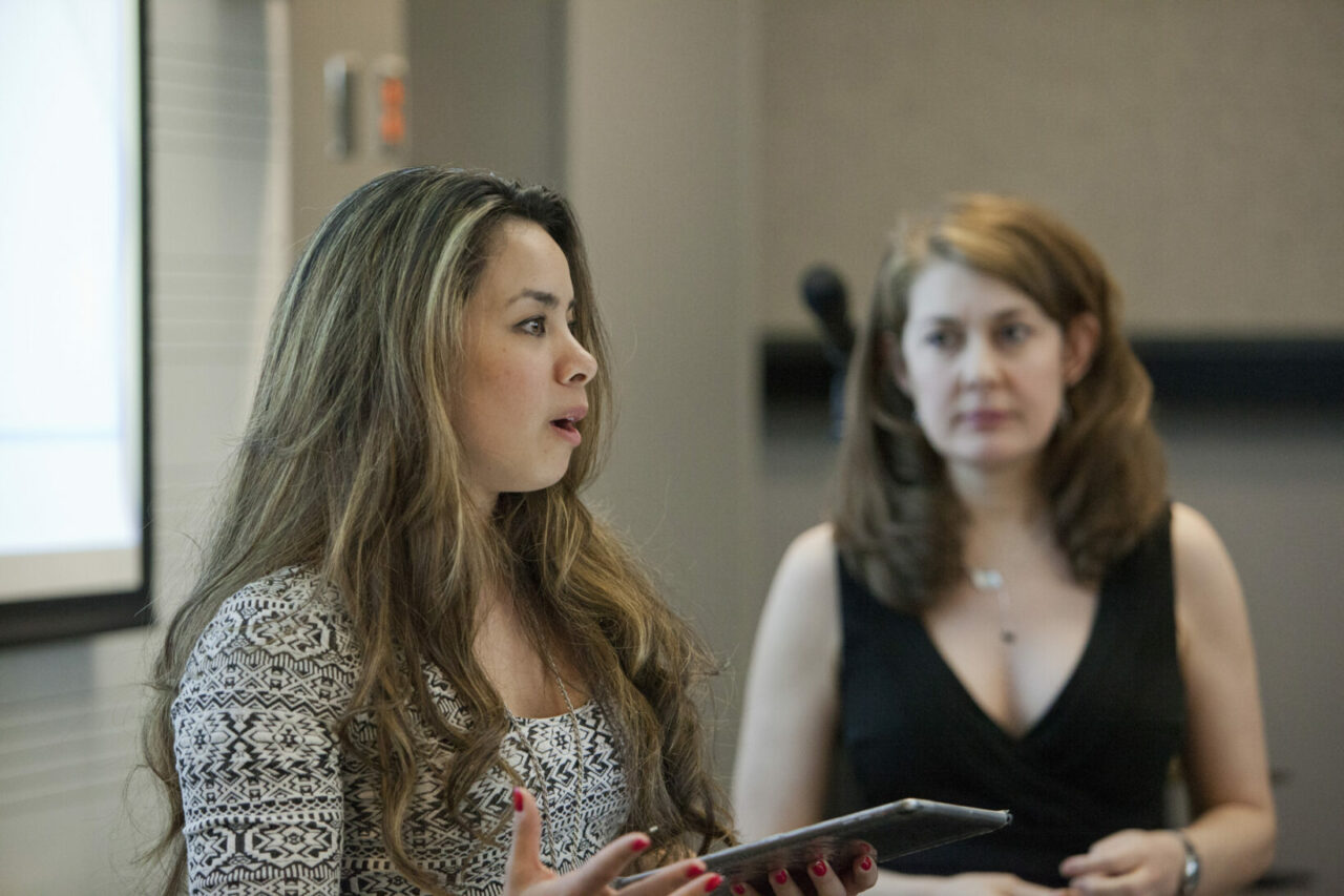 Music students, Neva Lyn-Kew and Tracy Smith-Bessette, presenting different singing styles from all over the world. Photo: Nicolas Morin