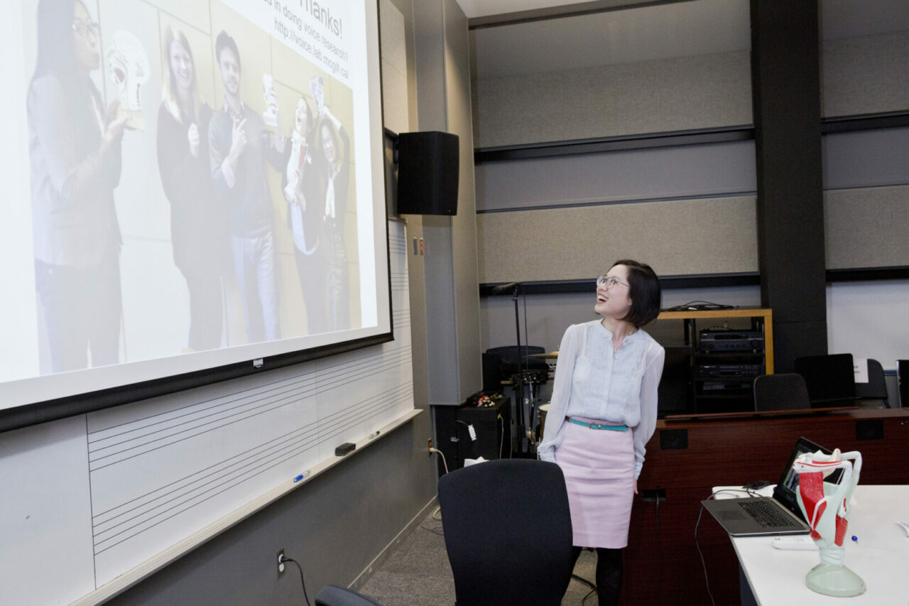 SCSD professor, Nicole Li, ended her research presentation with a goofy picture of her students. Photo: Nicolas Morin