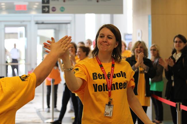 Ann Hébert, volunteer services coordinator, celebrates a job well done