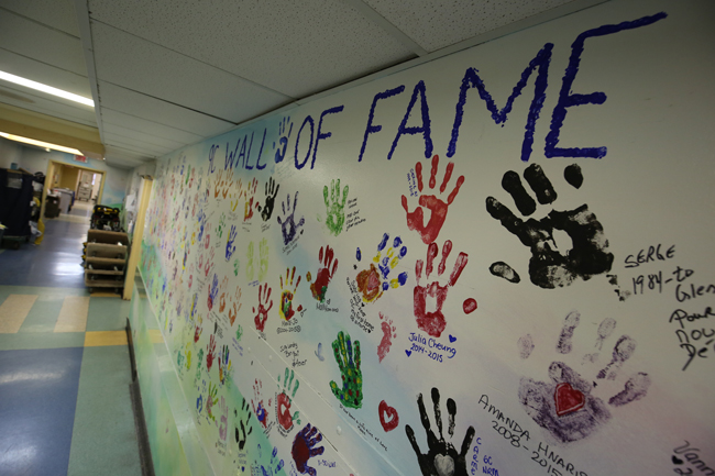 Handprints of staff members at the old Children's Hospital