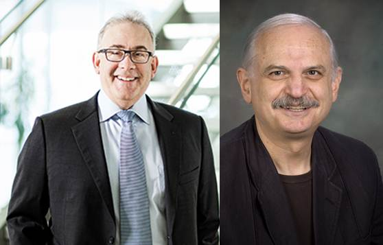 Dr. Ronald Gottesman (l) and Dr. Constantin Polychronakos (r) (Photo of Dr. Polychronakos courtesy of the Montreal Children's Hospital audiovisual department)