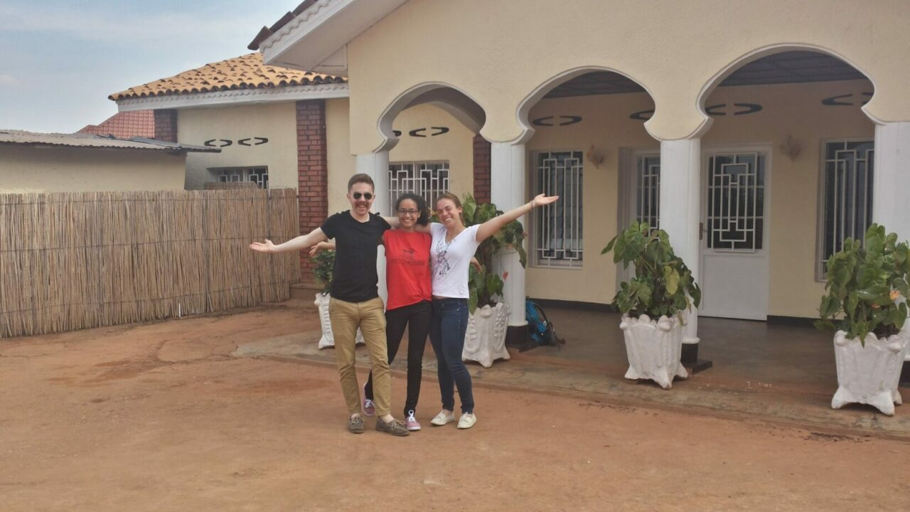 Ryan Adessky, Annie Lalande and Esther Vaugon at their house in Kigali. / Photo courtesy of Ryan Adessky.