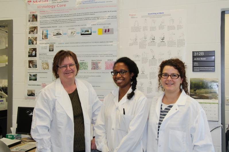 Jo-Ann Bader (Histology Coordinator), Caroline Therien (Research Technician), and Janel Daniel (Histology Technician)