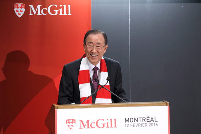"""""""With McGill's support, I am confident we can boldly go where no man has gone before,"""" said UN Secretary-General Ban Ki-moon. """"As another famous McGill graduate once said: 'Beam me up, Scotty.'"""" / Photo: Owen Egan"""