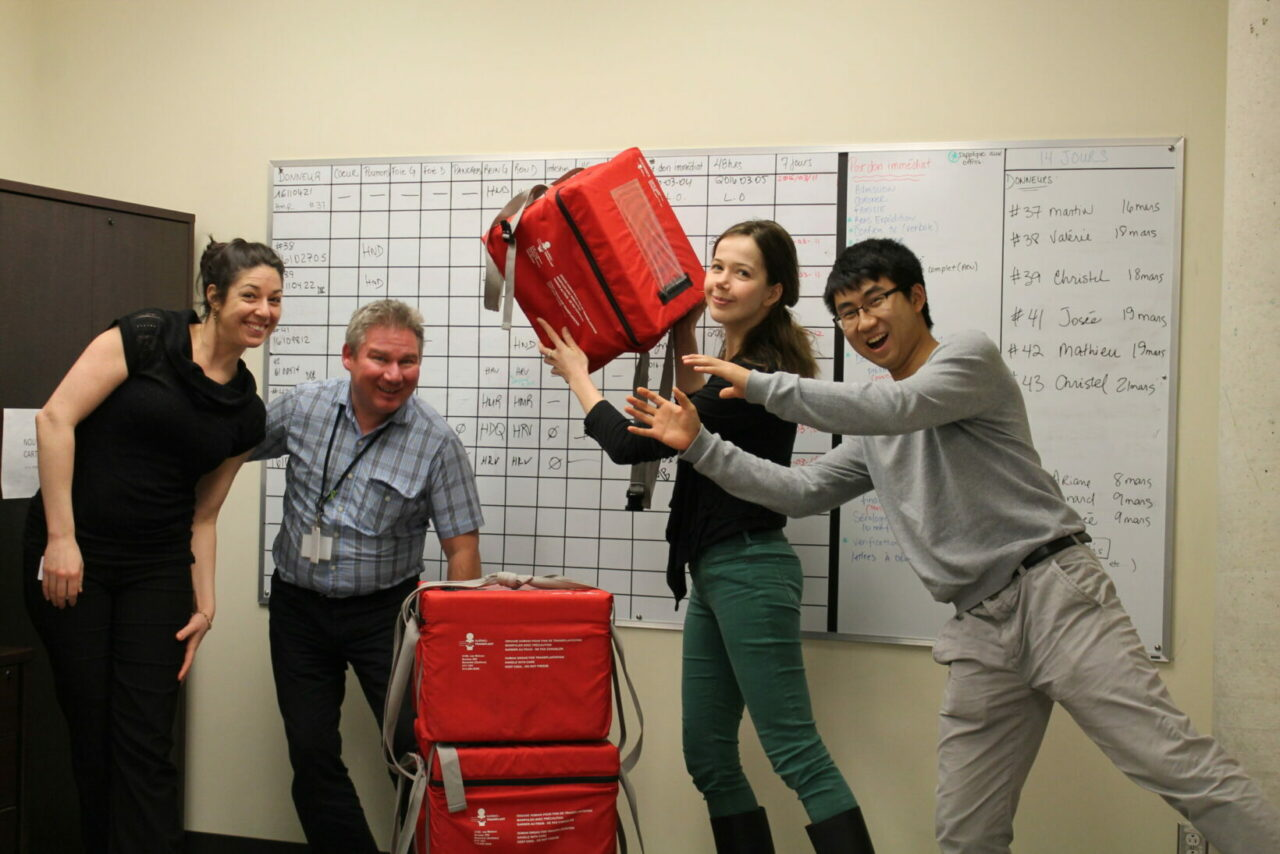 McGill medical students Alexandra Fletcher and Bing Yu Chen (right) with members of the Transplant Quebec team (Photo courtesy of Alexandra Fletcher).