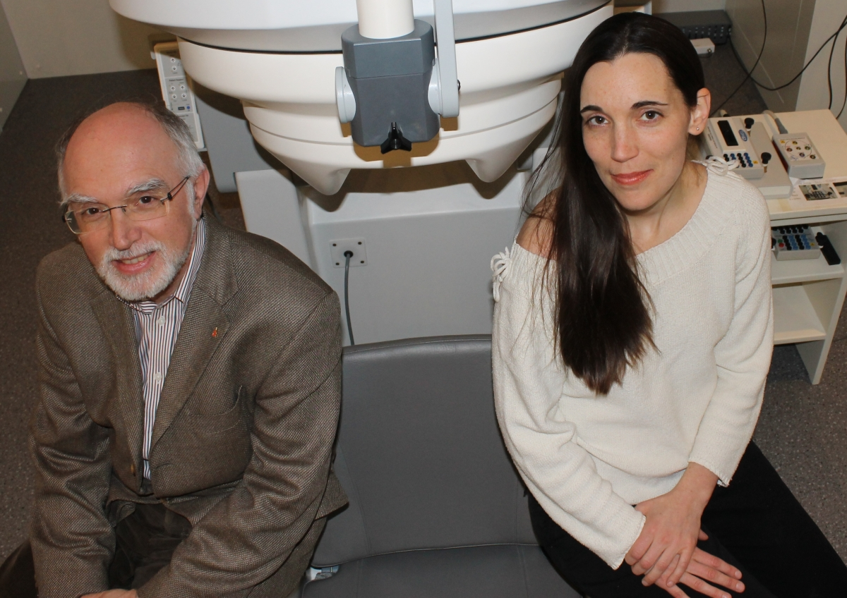 Robert Zatorre, Professor of Neurology and Neurosurgery at McGill University, and PhD candidate Emily Coffey at the MEG lab of the Montreal Neurological Institute and Hospital.