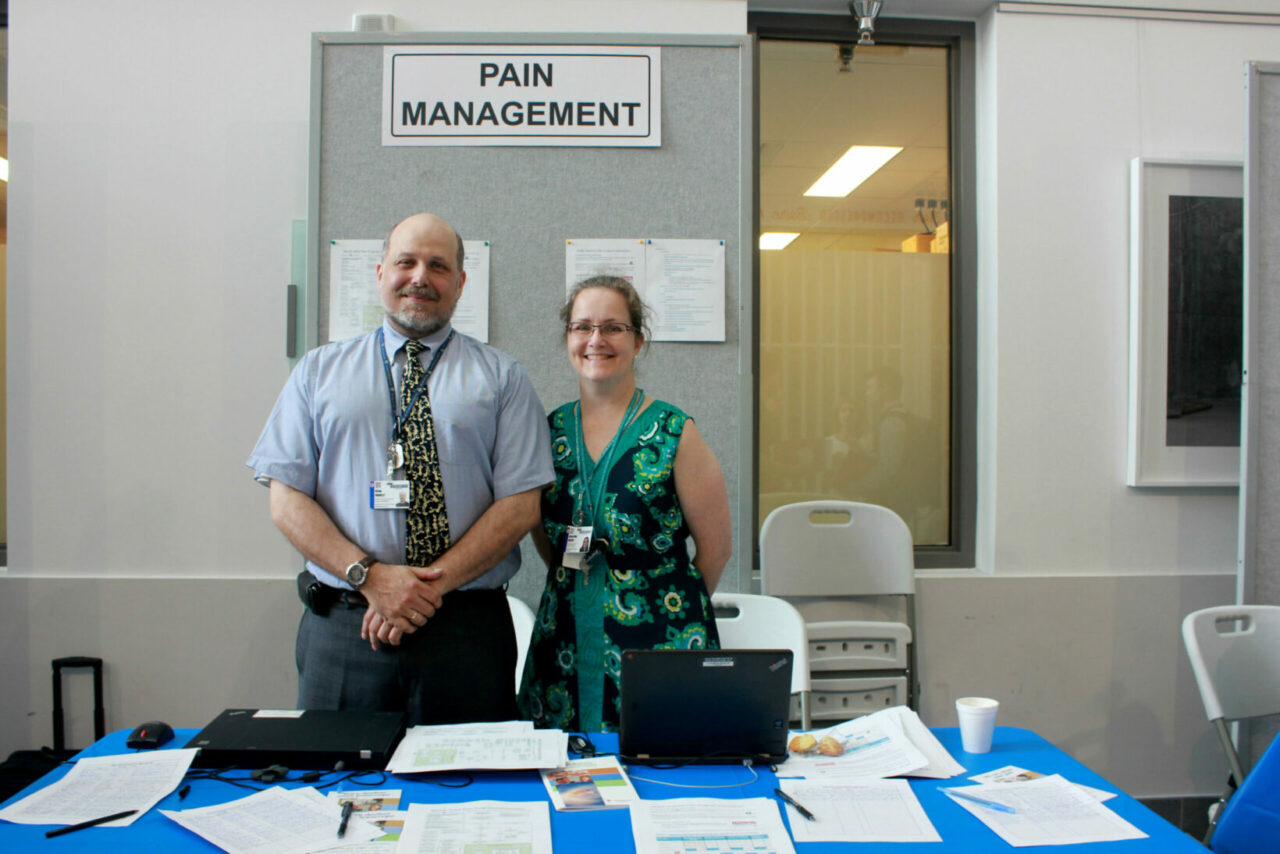 Brian Bradley, Administrative manager, Alan Edwards Centre for Research on Pain; Krista Brecht, Clinical nurse, Alan Edwards Centre for Research on Pain.  Krista Brecht, Pain Management booth:
