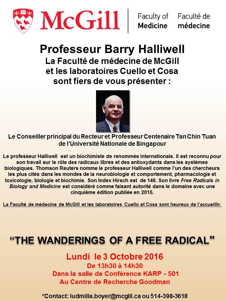 Conference du Professeur Barry Halliwell - October 3rd 2016 (En Francais)