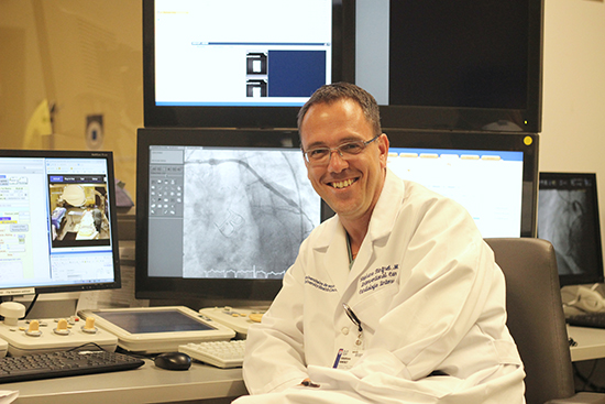 """""""Two things make the MUHC Cath Lab special: state-of the art equipment and interventional cardiologists who are at the forefront heart disease treatment,"""" says Dr. Stéphane Rinfret, chief of Interventional Cardiology at the MUHC and associate professor of Medicine at McGill University. Photo: Gilda Salamone"""