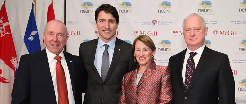 (Left to right) Toronto business leader Larry Tanenbaum, Prime Minister Justin Trudeau, Principal Suzanne Fortier and Montreal Neurological Institute director Guy Rouleau were on hand for the official launch of the new Tanenbaum Open Science Institute on December 16 (Photo: Owen Egan)