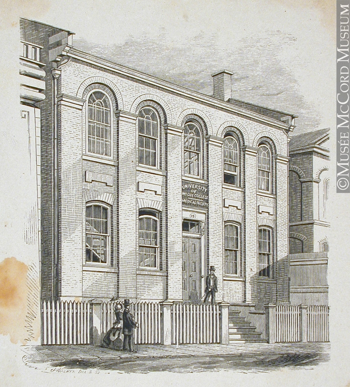 John Henry Walker (1831-1899), Medical faculty, McGill College, Montreal, QC. 1850-1885, wood engraving, 16.5 x 14.5 cm. From: McCord Museum, M930.51.1.89.