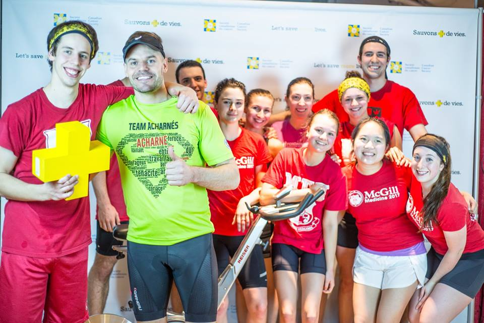 François Gagnon (front left) with his friend and role model, the late Alexandre Charest, and other students participating in the 2016 Great Spin.