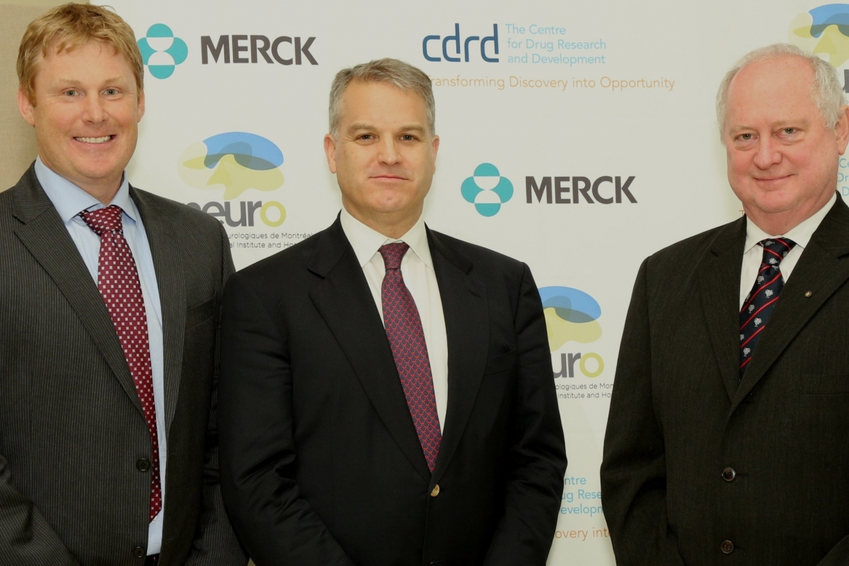 From left to right, Dr. Sean Smith, Executive Director of Neuroscience Discovery, Merck, Gordon McCauley, President and CEO of CDRD, and Dr. Guy Rouleau, Director of the Montreal Neurological Institute and Hospital.